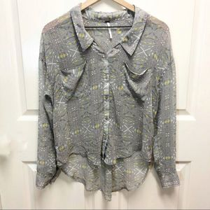 Free People gray button up sheer blouse XS